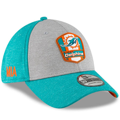Miami Dolphins New Era 2018 NFL Sideline Road Official 39THIRTY Flex Hat – Heather Gray/Aqua