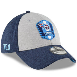 Tennessee Titans New Era 2018 NFL Sideline Road Official 39THIRTY Flex Hat – Heather Gray/Navy