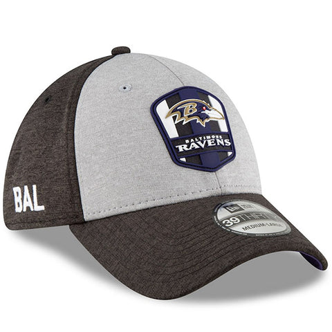 Baltimore Ravens New Era 2018 NFL Sideline Road Official 39THIRTY Flex Hat – Heather Gray/Black