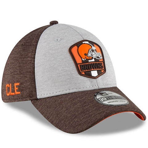 Cleveland Browns New Era 2018 NFL Sideline Road Official 39THIRTY Flex Hat – Heather Gray/Brown
