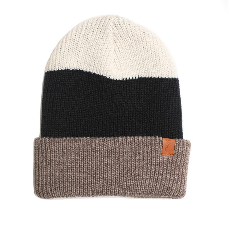 Divide Beanie Brown Heather Navy White