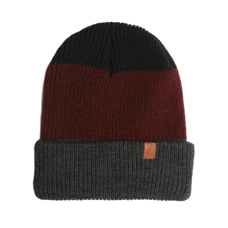 Divide Beanie Charcoal Burgundy Navy