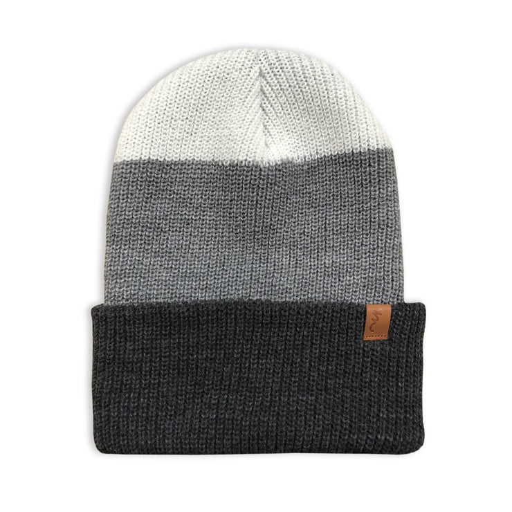 Divide Beanie Charcoal Grey White