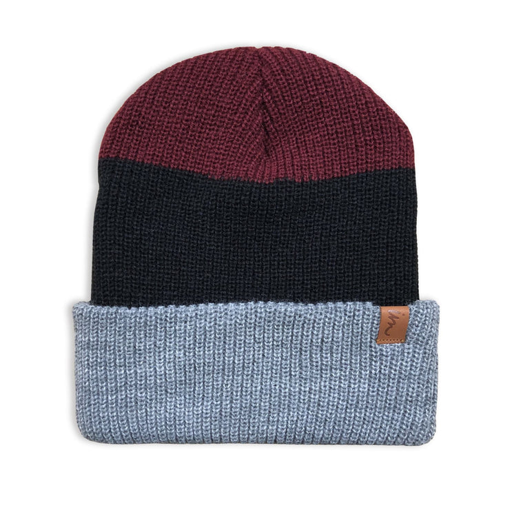 Divide Beanie Light Blue Navy Burgundy