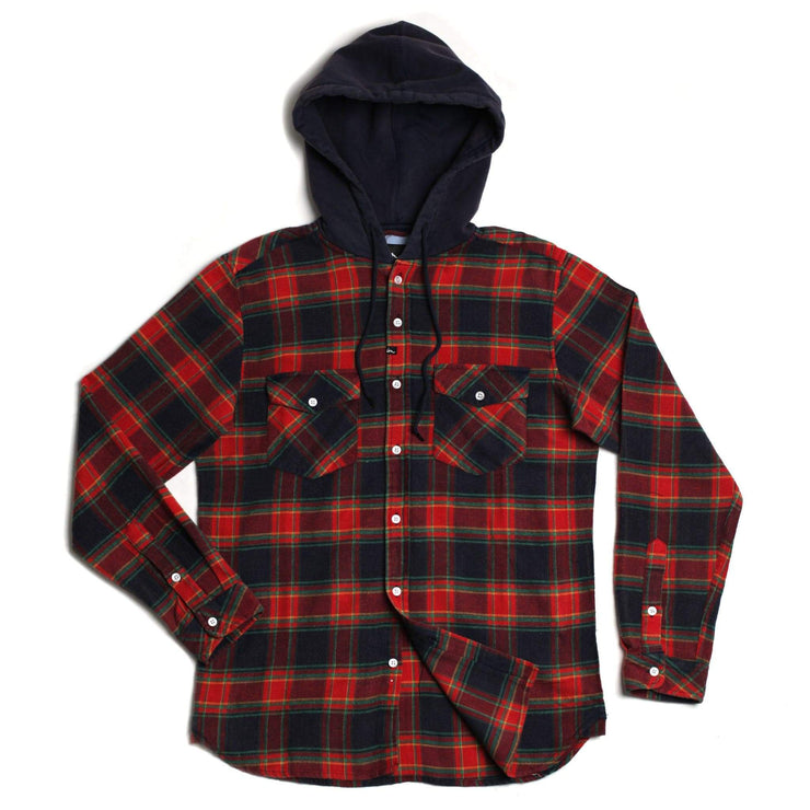 Greenwich Hooded Flannel Red Navy