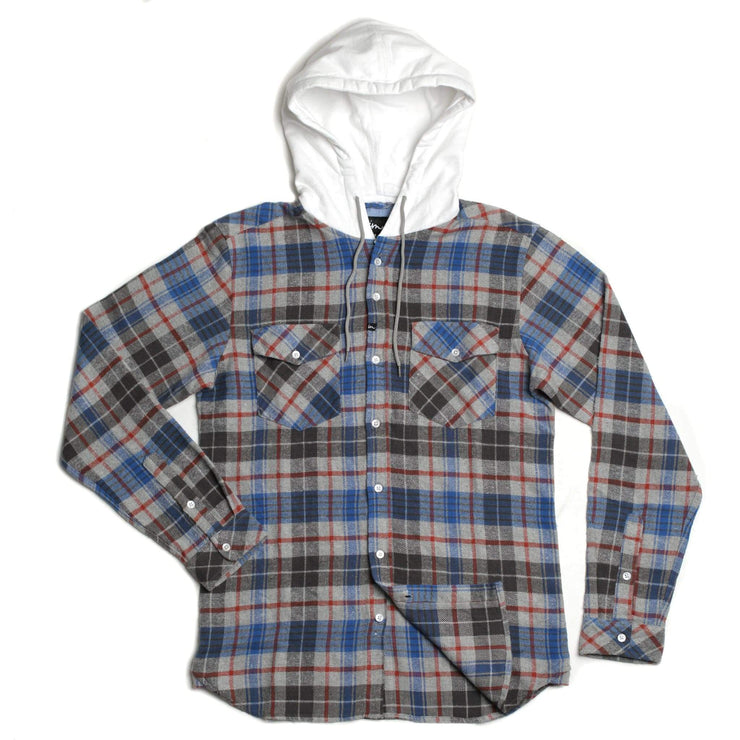 Parker Hooded Flannel Grey
