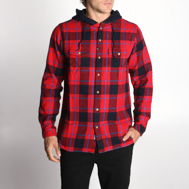 Parker Hooded Flannel Red