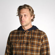 Parker Hooded Flannel Navy Tobacco