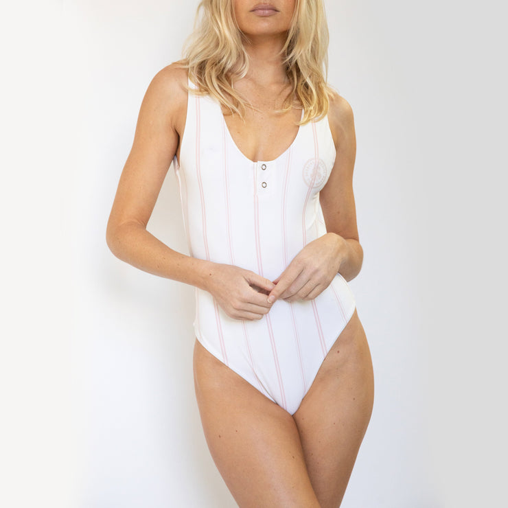 Seeker One Piece Cream Taragon Stripe
