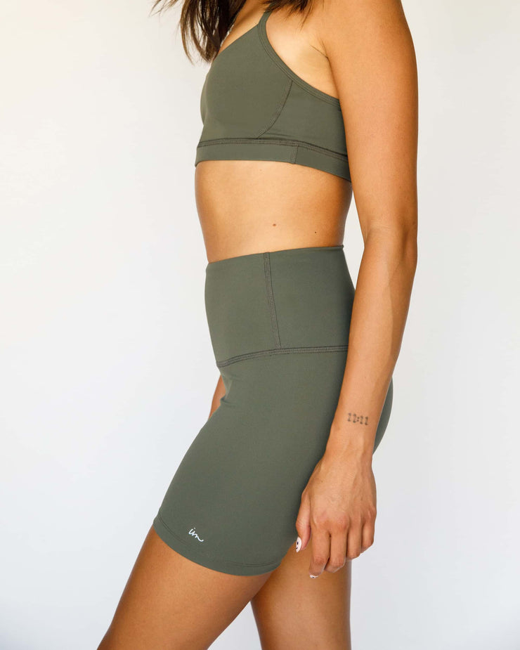 Solo High Waisted Biker Shorts Olive