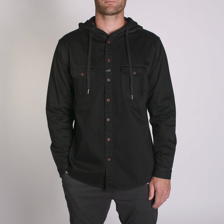 Wallace LS Hooded Shirt Black Denim