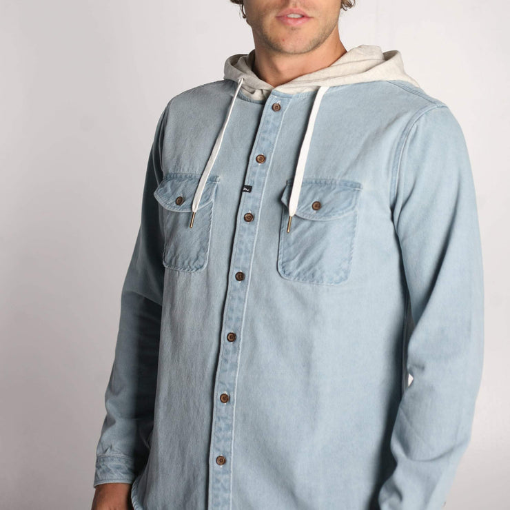 Wallace LS Hooded Shirt Washed Indigo Denim