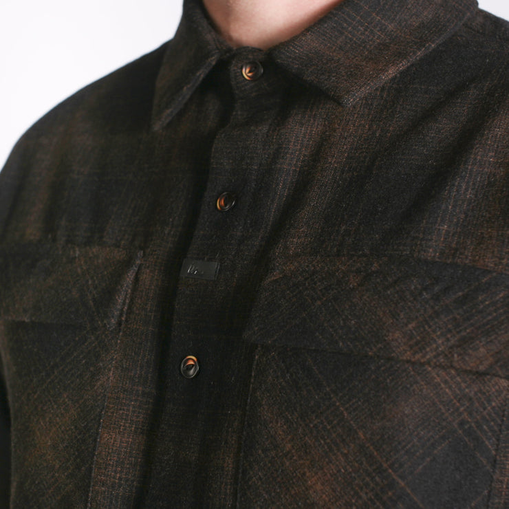 Winthrop Woolly Flannel Black Copper Plaid