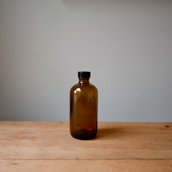 Amber Glass Bottle with Cap (8 oz)