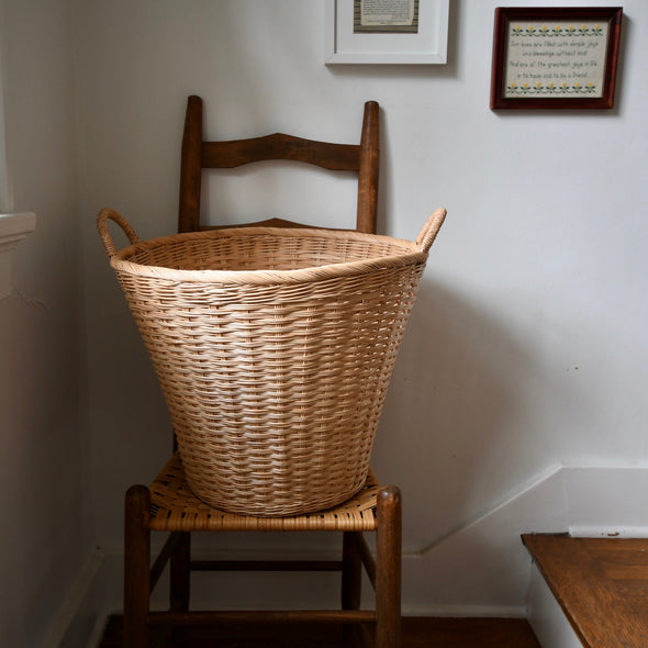 Large Round Handwoven Laundry Basket