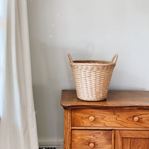 Small Round Handwoven Laundry Basket
