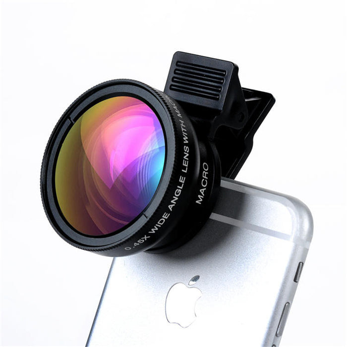 2 in 1 Professional HD Camera Lens 0.45X Wide Angle+12.5X Macro