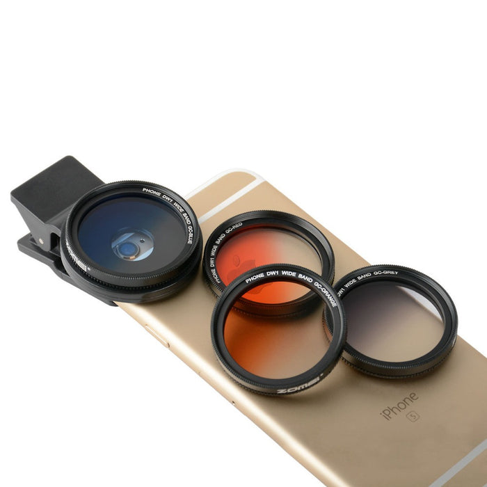 Universal 37mm Clip-On Graduated Gray Orange Gradual Blue Red Filter