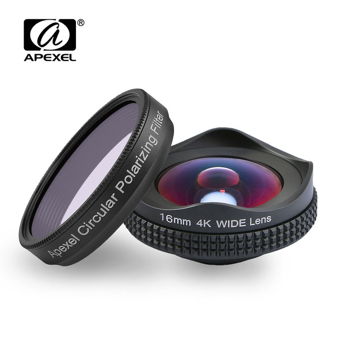Professional Clip-On 16mm 4K Wide Lens with Polarizing Filter