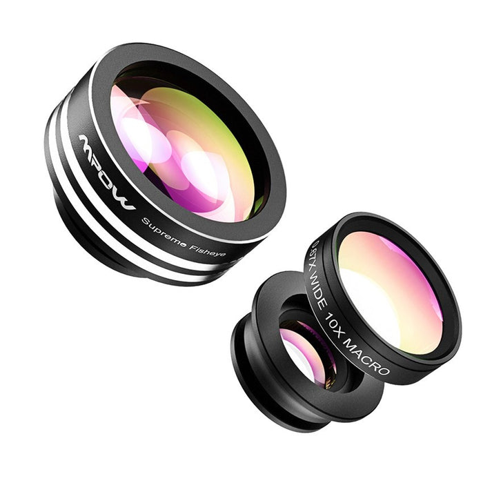 3 in 1 Fish Eye Lens 180 Degree Supreme Fisheye 0.67X Wide Angle 10X Macro Phone Lens
