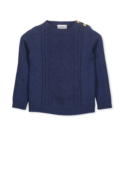 Cable Knit Crew - Blue Knitwear - Milky