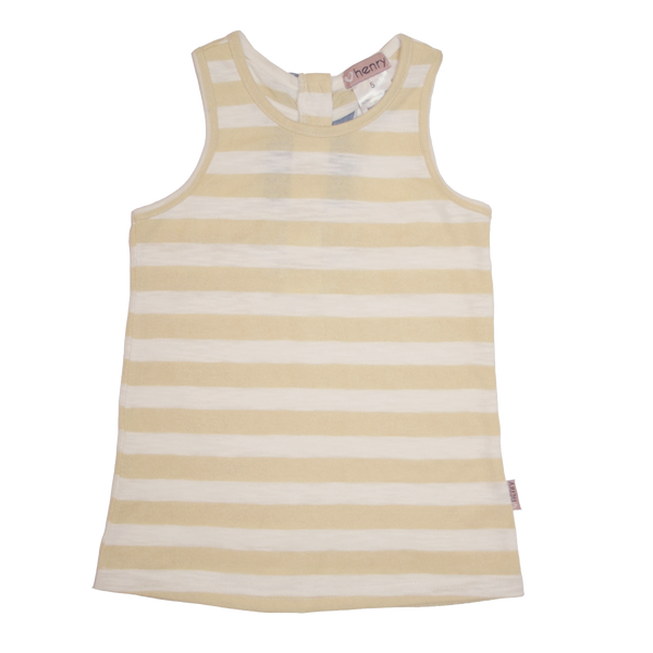Girls zip back singlet top Yellow - Love Henry