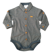 Baby Boys Shirt Romper - Blue/Tan Check - Love Henry
