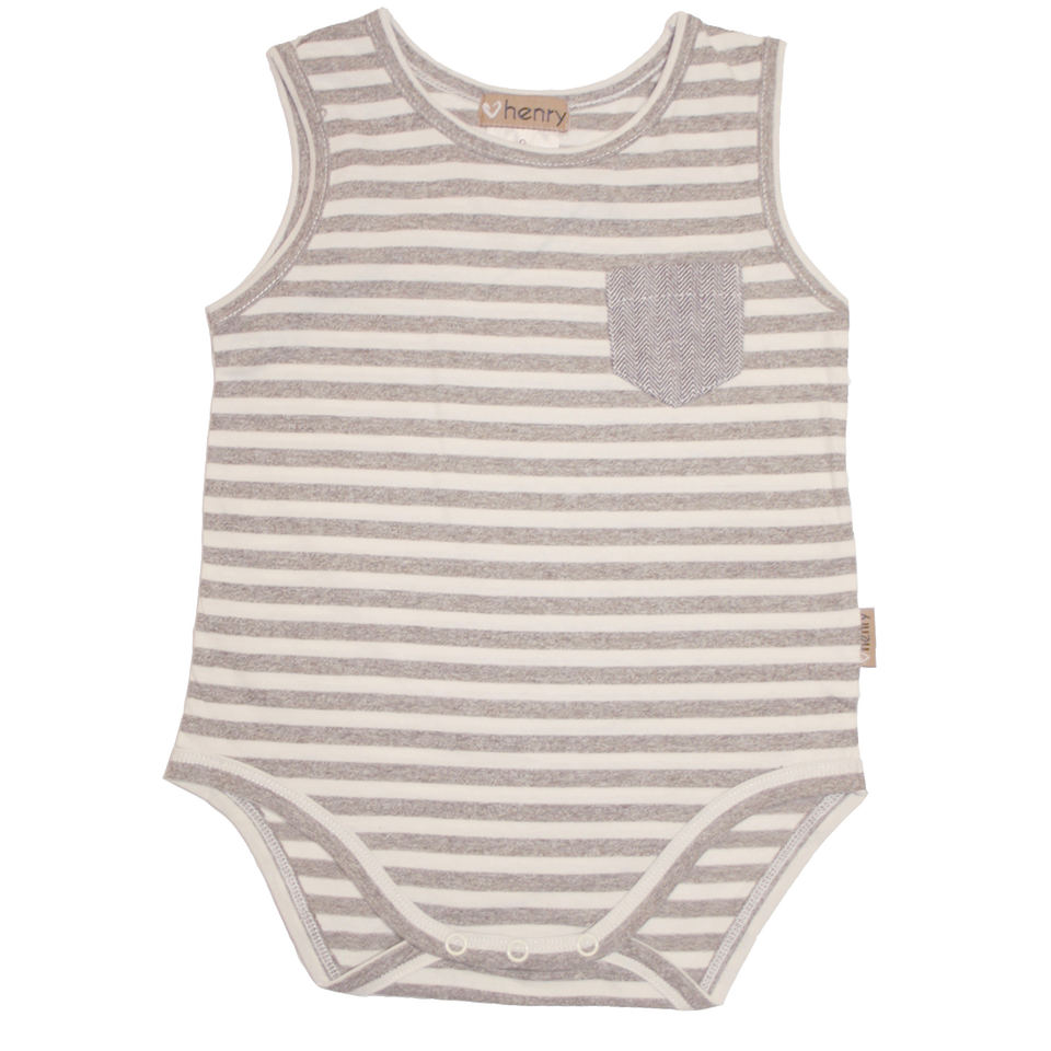 Baby Boys pocket romper Brown stripe - Love Henry