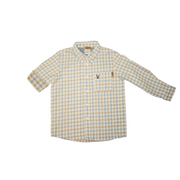 Boys Dres shirt - Blue and tan check- Love Henry
