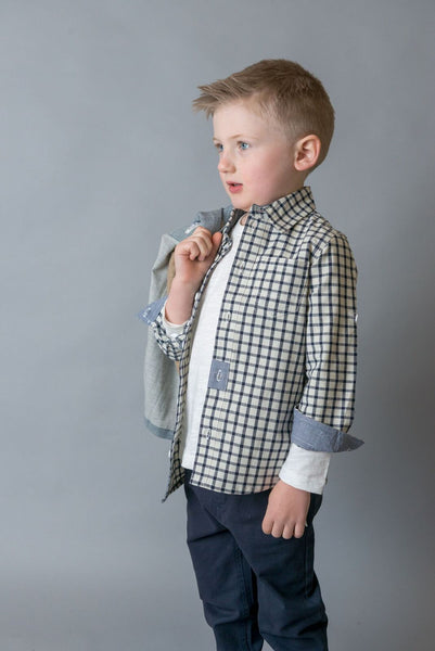 Boys Check Shirt - Navy - Love Henry