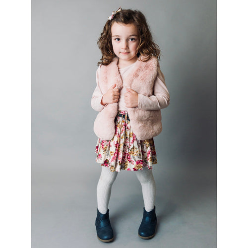 Girls Fur Vest - Pink - Love Henry