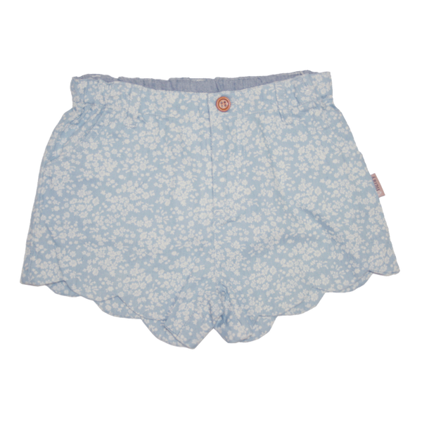 Girls scalloped hem shorts - Blue floral - Love Henry