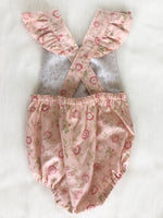 Pink Floral Playsuit with flutters Size 00