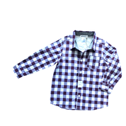 Boys Large Gingham Check Shirt - Maroon - Love Henry