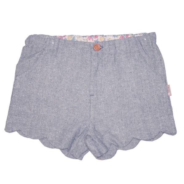 Girls scalloped hem shorts - Washed Navy - Love Henry