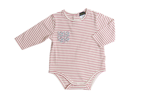 Love Henry Girls Pocket Onesie - Red or Pink Stripe