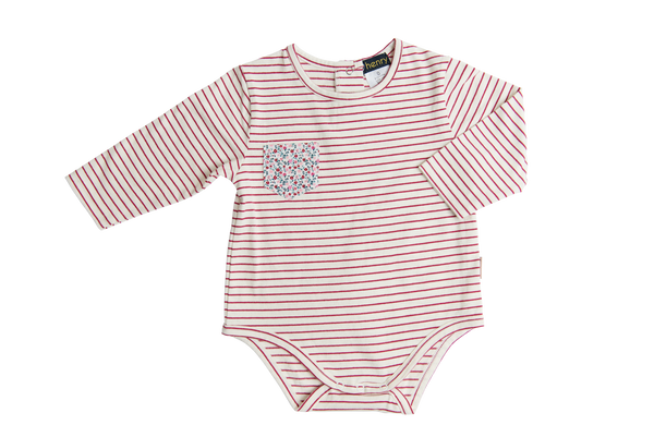 Girls Pocket Onesie - Red or Pink Stripe - Love Henry