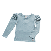 Girls Puff Sleeve Knit Top - Dusty Blue - Love Henry