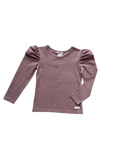 Girls Puff Sleeve Knit Top - Plum - Love Henry