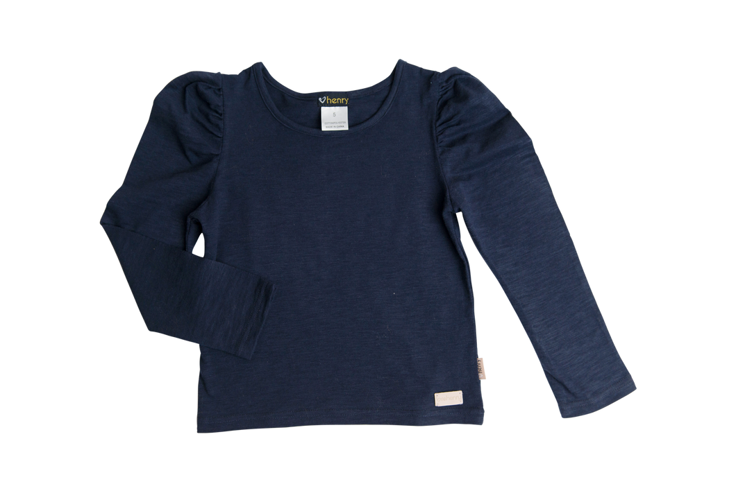 Puff Sleeve Knit Top - Navy  - Love Henry
