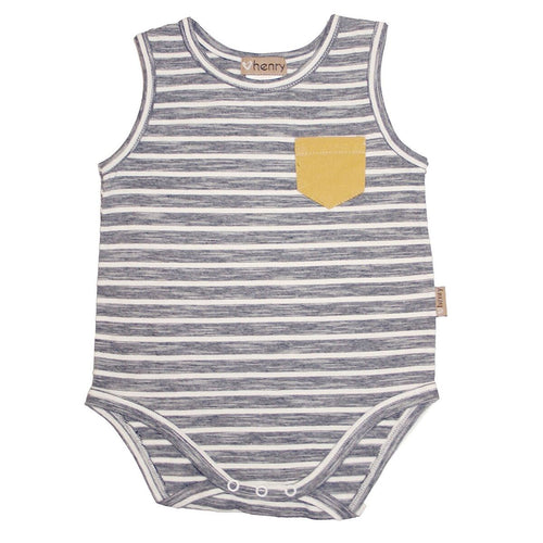Baby Boys pocket romper Monochrome stripe