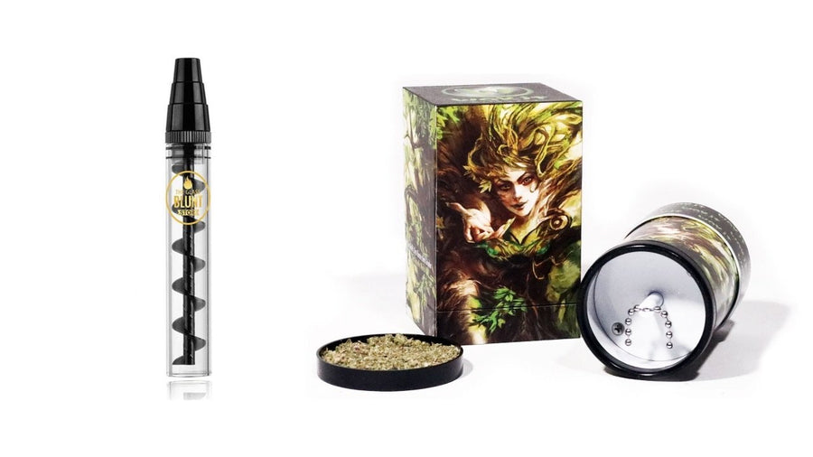 Full Size Designer Glass Blunt & ONE TOUCH Wakit Grinder