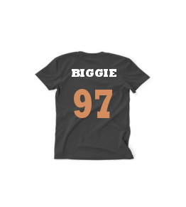 BIGGIE GOLD/WHITE TEXT, BLACK T MENS