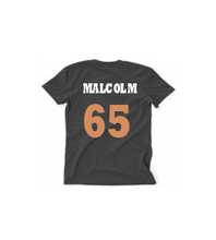 Load image into Gallery viewer, MALCOLM GOLD/WHITE TEXT, BLACK T MENS