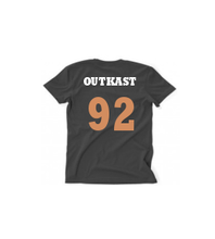 Load image into Gallery viewer, OUTKAST GOLD/WHITE TEXT, BLACK T MENS