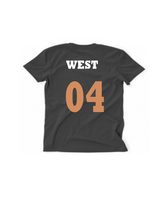 Load image into Gallery viewer, WEST GOLD/WHITE TEXT, BLACK T MENS