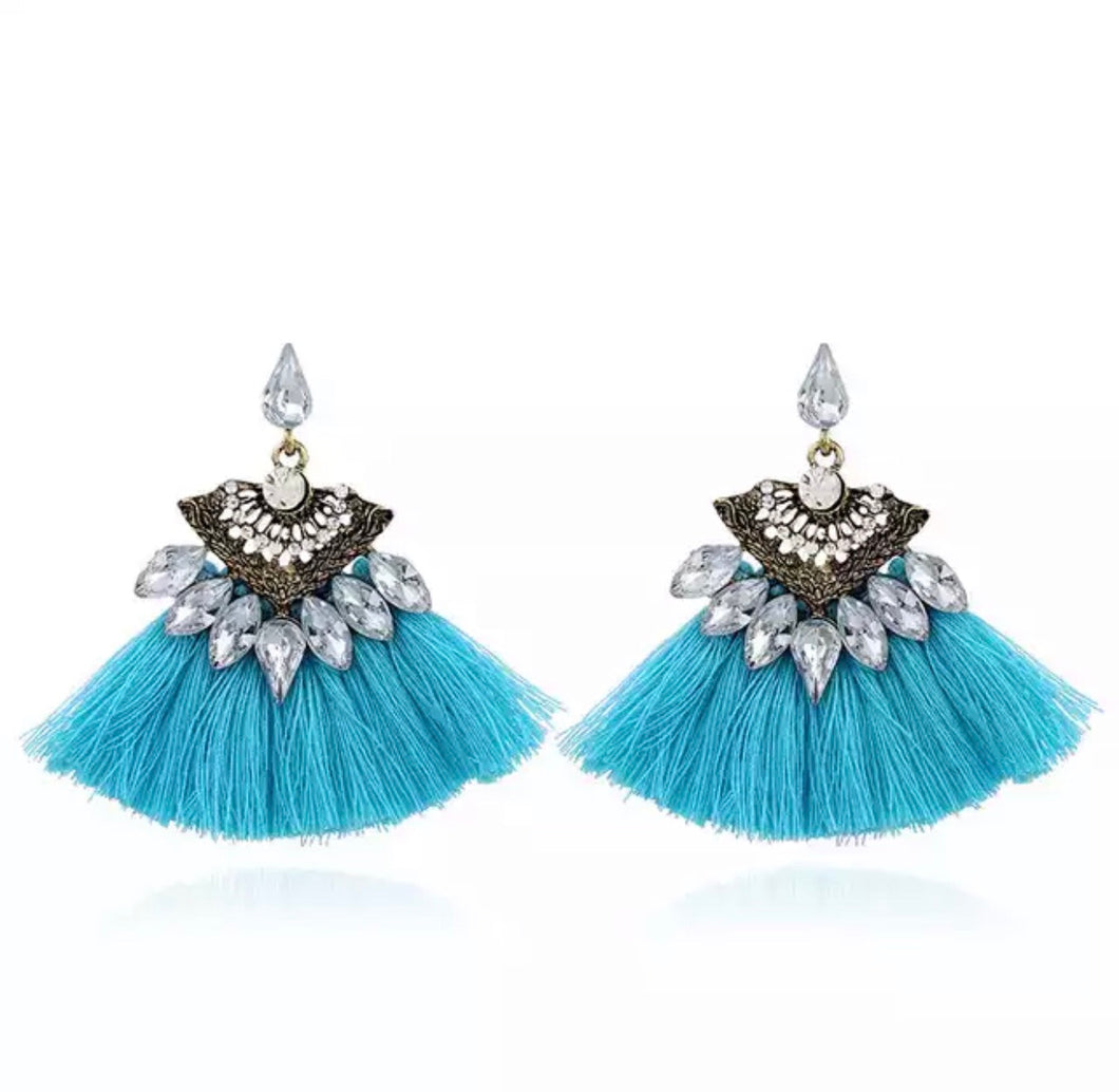 Sparked Blue Tassel Earrings