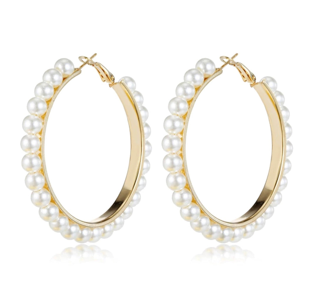 Pearl Bisou Hoop Earrings