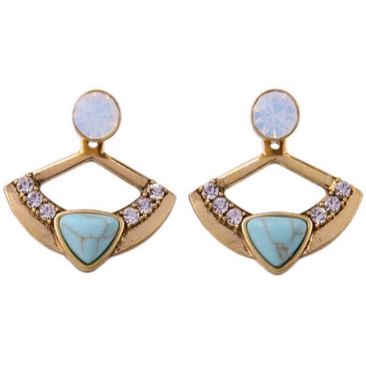Princess Blue 2 In 1 Ear Fans/Studs