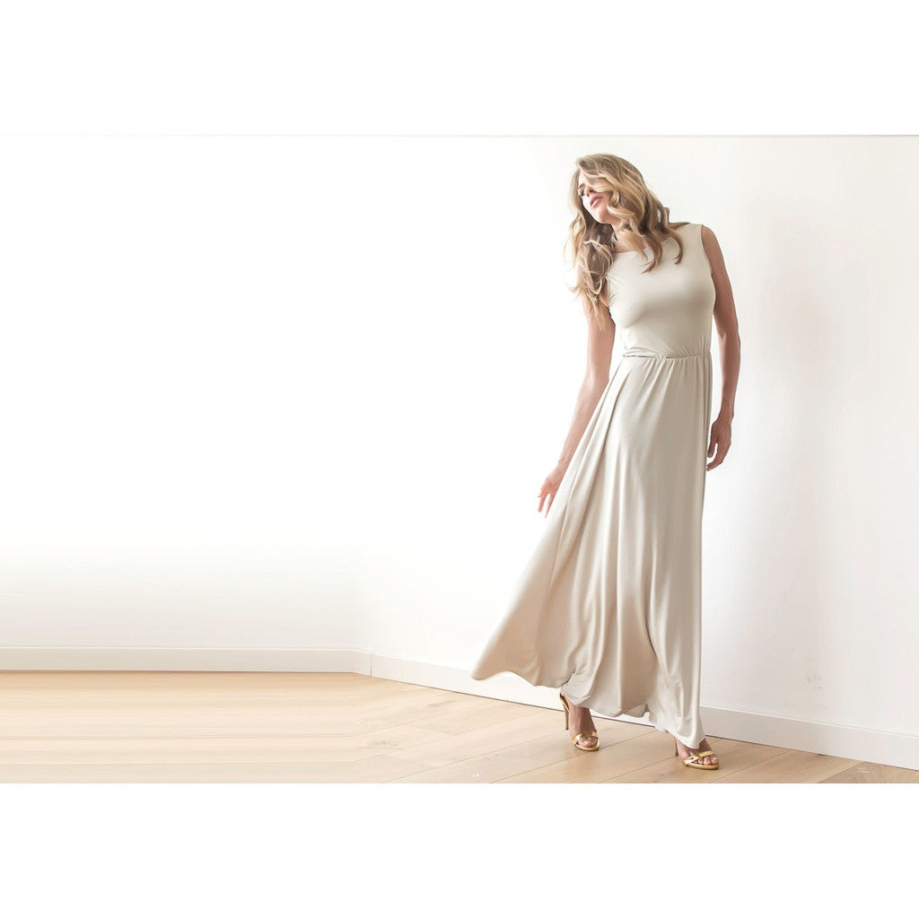 Backless champagne maxi dress  1062